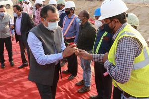 Coal miners greet Chairman of Coal India