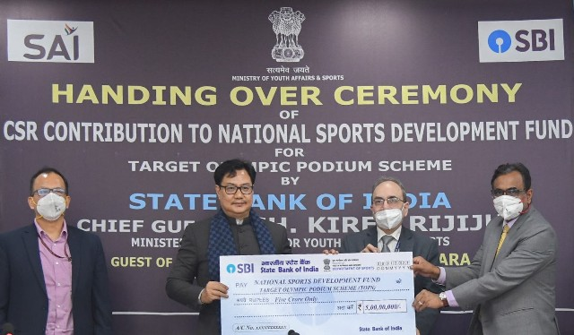 CSR: SBI donates Rs. 5 crores to NSDF for Target Olympic Podium Scheme
