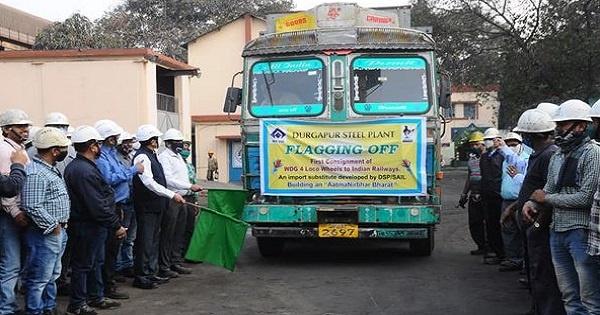 SAIL Durgapur plant dispatched WDG-04 wheels to Indian railways